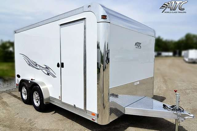 14 ft White Aluminum Motorcycle Trailer