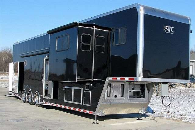 46 ft Black Race Trailer with Living Quarters