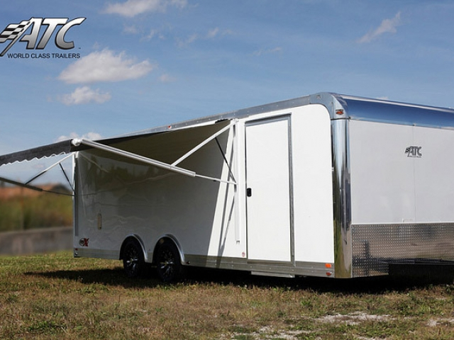Custom Trailer, Car Hauler, Sport, Bumper Pull, Race Trailers, 24 ft ATC Trailer, with Awning