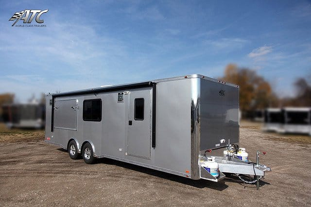 Car Hauler, 28 foot Bumper Push Out, Race Trailer, with Living Quarters
