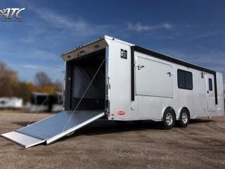 Car Hauler, 28 foot Bumper Push Out, Race Trailer, with Living Quarters