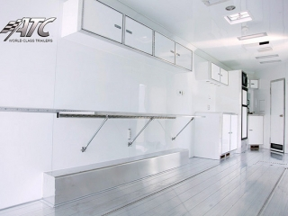 Car Hauler, Sport, Bumper Pull Race, 32 ft ATC Trailer Bathroom and Kitchen