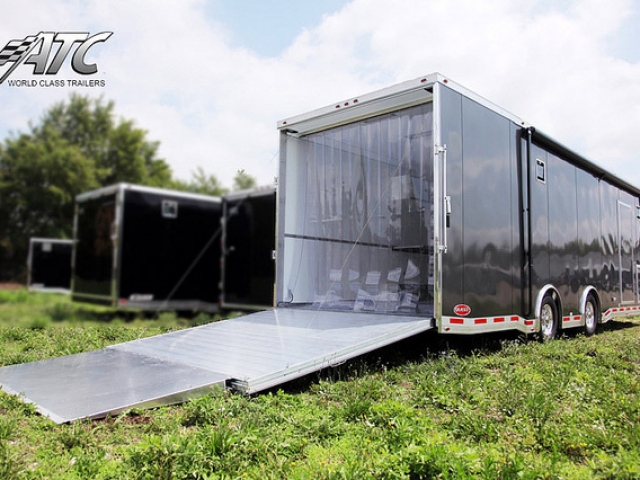 Car Hauler, Sport, Bumper Pull Race, 32 ft ATC Trailer Bathroom and Kitchen