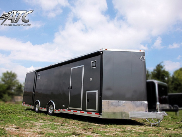 Custom Trailer, Car Hauler, Sport, Bumper Pull Race, 32 ft ATC Trailer Bathroom and Kitchen