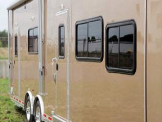 Car Hauler, 40 foot Beige, Race Trailer, with Living Quarters