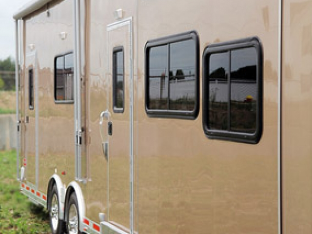 Car Hauler, 40 foot Beige, Race Trailer, with Living Quarters