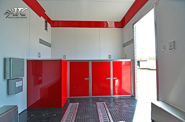 Car Hauler, 44 foot Red, Race Trailer, with Living Quarter