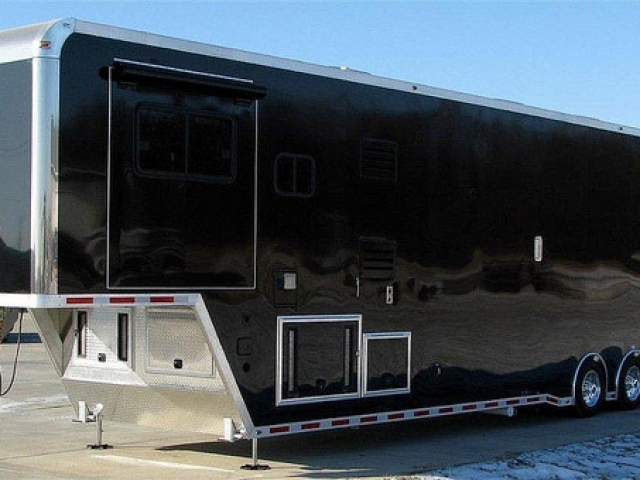 Custom Trailers, Car Hauler, Sport, Race Trailers with Living Quarters, 46 ft Black
