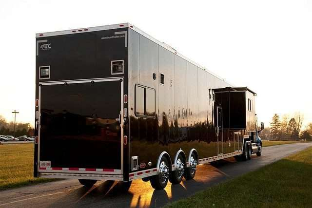 53 ft Black Race Trailer with Living Quarters