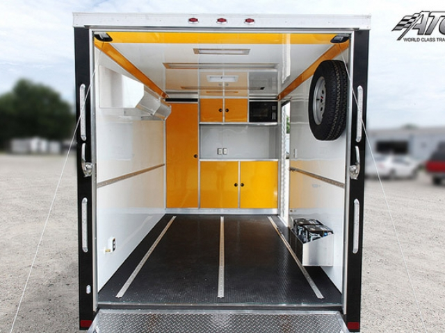 Custom Trailers, Car Hauler, Sport, Motorcycle, ATC Quest, MC300, Yellow Cabinets
