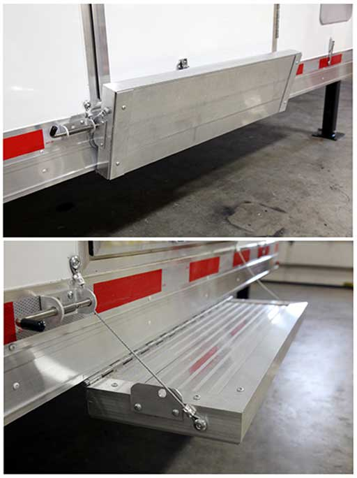 Aluminum Flip Down Step, Door Accessories, Custom Trailer Options