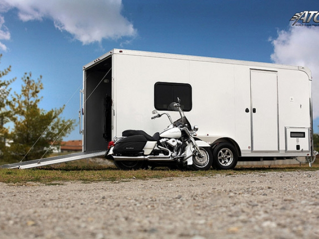 Custom Trailers, Car Hauler, Sport, Motorcycle, Aluminum, with Bathroom