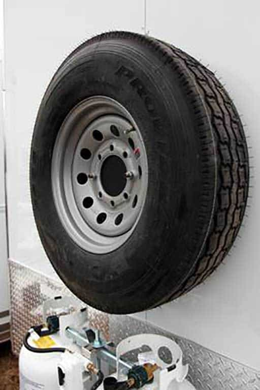 Exterior Wall Mount Spare, Axles, Tires, Custom Trailer Options