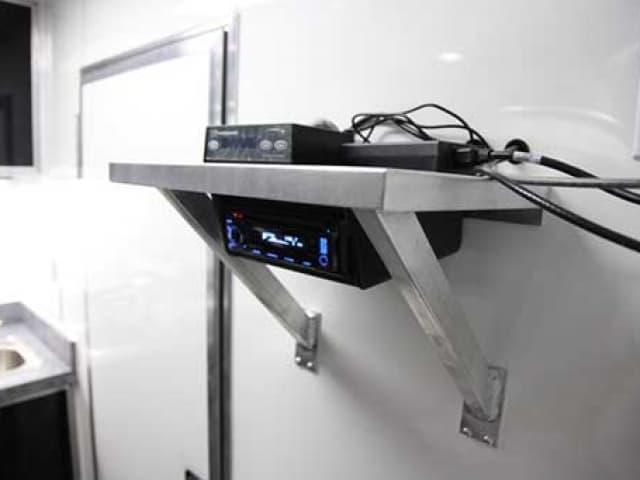Fixed Aluminum Counter, Cabinets, Storage, Custom Trailer Options