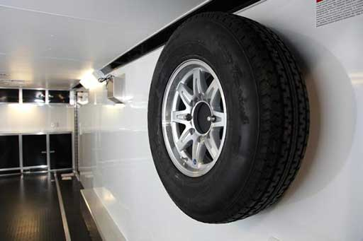 Interior Wall Mount Spare, Axles, Tires, Custom Trailer Options