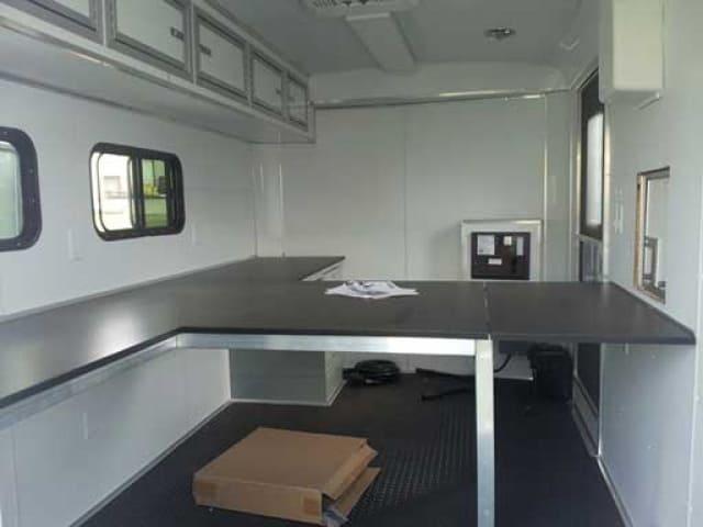 Laminate Island Counter, Cabinets, Storage, Custom Trailer Options