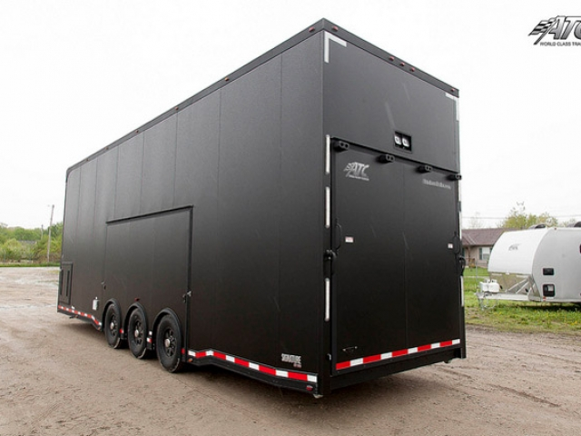 Custom Trailers, Car Hauler, Sport, Stacker, Matte, Black, Custom Cabinets