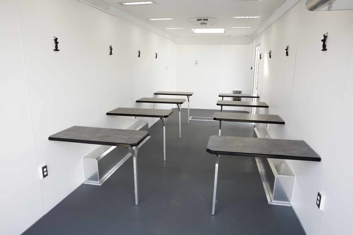 Mobile Office Classroom Trailer with Folding Desks