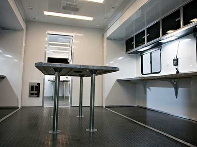Removable Conference Table, Cabinets, Storage, Custom Trailer Options