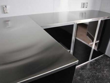 Upgrade Aluminum Counter to Stainless Steel, Cabinets, Storage, Custom Trailer Options