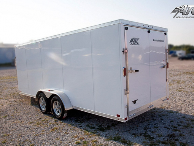 White In Line Snowmobile Trailer