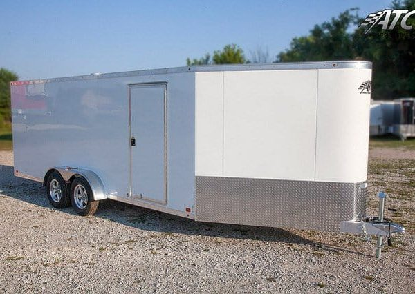 Car Hauler & Sport - Snowmobile Trailers - White In Line Aluminum Snowmobile Trailer
