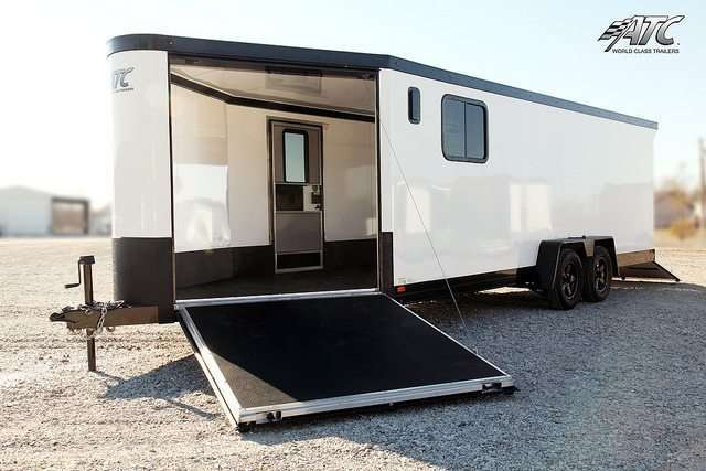White with Black Stoneguard Snowmobile Trailer