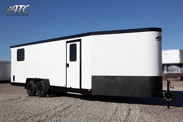 Custom Trailers, Car Hauler, Sport, Snowmobile, White, with Black Stoneguard